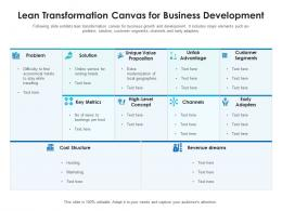 Lean Transformation Canvas For Business Development