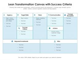 Lean Transformation Canvas With Success Criteria