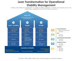 Lean Transformation For Operational Stability Management