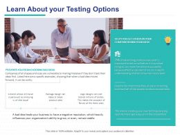 Learn About Your Testing Options Ppt Powerpoint Presentation Portfolio Graphics Example
