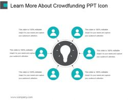 Learn More About Crowdfunding Ppt Icon