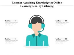 Learner Acquiring Knowledge In Online Learning Icon By Listening