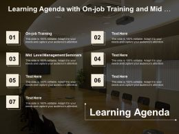 Learning Agenda With On Job Training And Mid Level Management Seminars