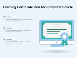 Learning Certificate Icon For Computer Course