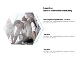 Learning Development Manufacturing Ppt Powerpoint Presentation Gallery Templates Cpb