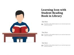 Learning Icon With Student Reading Book In Library