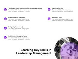 Learning Key Skills In Leadership Management Ppt Powerpoint Presentation Icon