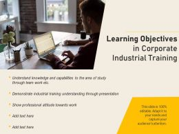 Learning Objectives In Corporate Industrial Training
