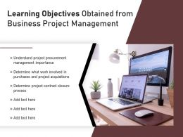 Learning Objectives Obtained From Business Project Management