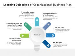 Learning Objectives Of Organizational Business Plan
