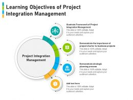 Learning Objectives Of Project Integration Management
