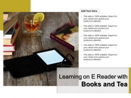 Learning On E Reader With Books And Tea