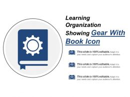 Learning Organization Showing Gear With Book Icon