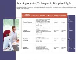 Learning Oriented Techniques In Disciplined Agile Agile Delivery Approach Ppt Mockup