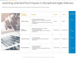 Learning Oriented Techniques In Disciplined Agile Delivery Ppt Powerpoint Presentation Ideas