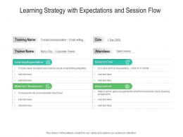 Learning Strategy With Expectations And Session Flow
