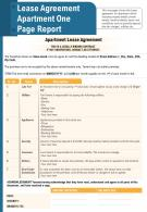 Lease Agreement Apartment One Page Report Presentation Report Infographic PPT PDF Document