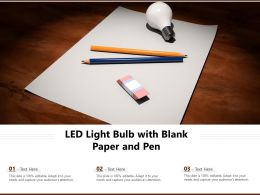 Led Light Bulb With Blank Paper And Pen