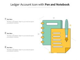 Ledger Account Icon With Pen And Notebook