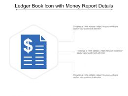 Ledger Book Icon With Money Report Details