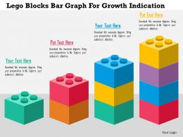 Lego Blocks Bar Graph For Growth Indication Flat Powerpoint Design