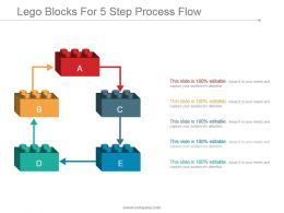 Lego Blocks For 5 Step Process Flow Ppt Sample Download