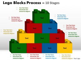 Lego Blocks Process 10 stages Style 2 Powerpoint Slides And Ppt Templates 0412 98