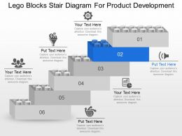 Lego Blocks Stair Diagram For Product Development Powerpoint Template Slide