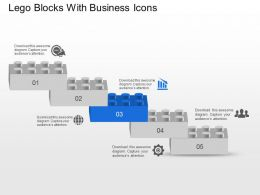 Lego Blocks With Business Icons Powerpoint Template Slide