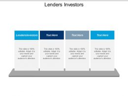 Lenders Investors Ppt Powerpoint Presentation Gallery Professional Cpb