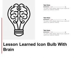 Lesson Learned Icon Bulb With Brain