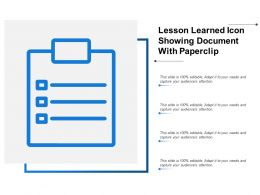 Lesson Learned Icon Showing Document With Paperclip
