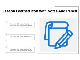 Lesson Learned Icon With Notes And Pencil