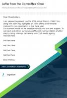 Letter From The Committee Chair Presentation Report Infographic PPT PDF Document