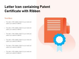 Letter Icon Containing Patent Certificate With Ribbon