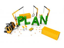 Letters Of Plan With Building Equipment Showing Concept Of Project Planning Stock Photo