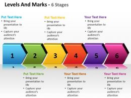 levels and marks shown by side arrows interconnected 6 stages powerpoint templates 0712