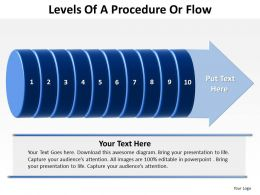 levels of a procedure or flow shown by cylinder split up with arrow at end powerpoint templates 0712