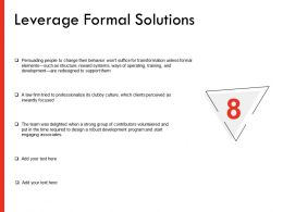Leverage Formal Solutions Ppt Powerpoint Presentation Professional Sample