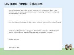Leverage Formal Solutions Team Ppt Powerpoint Presentation Professional Slide Portrait
