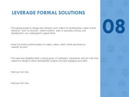 Leverage Formal Solutions Training Ppt Powerpoint Presentation File Professional