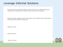 Leverage Informal Solutions Focused Ppt Powerpoint Presentation Professional Slideshow