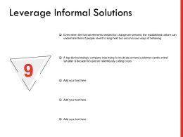 Leverage Informal Solutions Ppt Powerpoint Presentation Professional Shapes
