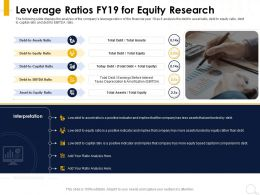 Leverage Ratios FY19 For Equity Research Positive Indicator Ppt Powerpoint Presentation Layouts Rules
