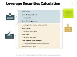 Leverage Securities Calculation Ppt Powerpoint Presentation File Example