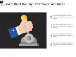 Levers Hand Holding Lever Powerpoint Slides