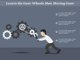 Levers Six Gear Wheels Man Moving Gear
