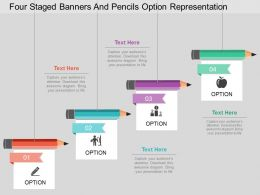 Lf Four Staged Banners And Pencils Option Representation Flat Powerpoint Design
