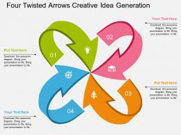 lf Four Twisted Arrows Creative Idea Generation Flat Powerpoint Design