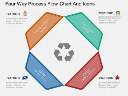 lf Four Way Process Flow Chart And Icons Flat Powerpoint Design